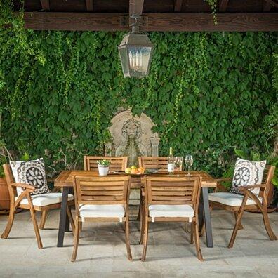 DeSoto 7 Piece Teak Finish Acacia Wood Patio Dining Set