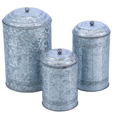 Galvanized Metal Lidded Canister With Oxidized Ball Knob, Set of Three, Gray