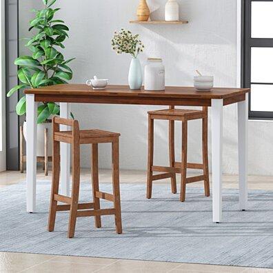 Spring Farmhouse Acacia Wood Bar Table