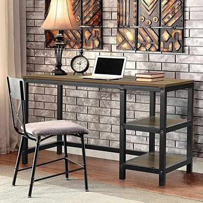 Vlush Industrial Computer Desk, Rustic Study Corner Writing Laptops Desk with 2 Storage Shelves on Left or Right and Stable Metal Frame
