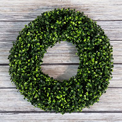 Boxwood Wreath, Artificial Wreath for the Front Door Home Decor, UV Resistant 16.5 Inches
