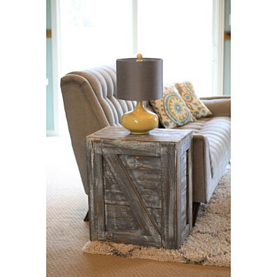 Weathered Gray Crate End Table