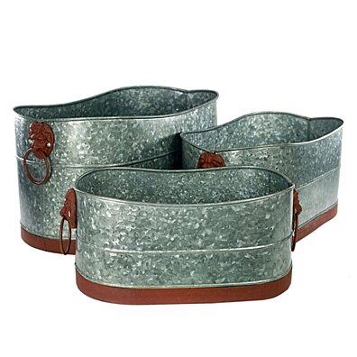 Metal Tubs with Lion Head Ring Handles, Gray and Brown, Set of 3