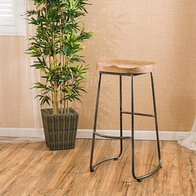 Dilley 31-Inch Contemporary Brown Pine Wood Barstool