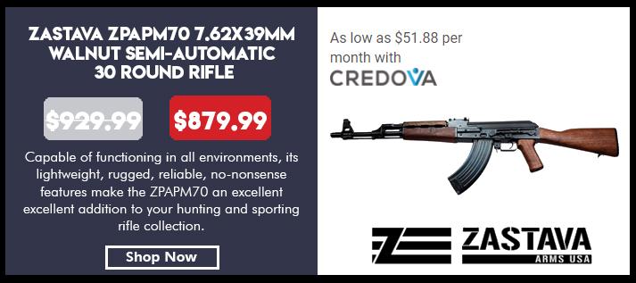 Zastava ZPAPM70 7.62x39mm Walnut Semi-Automatic 30 Round Rifle