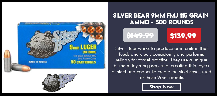 Ammo, Silver Bear, A919RFMJN, 9mm 115 gr., FMJ, 50rd per box, 500rd per case, 10 boxes per case