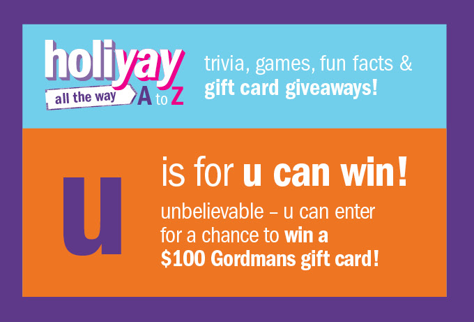 Holiyay all the way a to z U is for u can win!