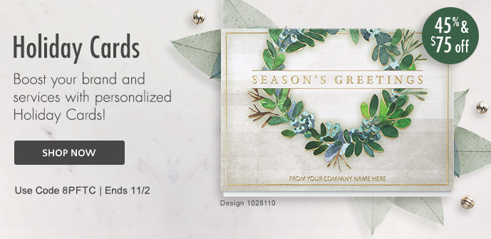 45% & $75 off Holiday Cards thru 11/2 - use Priority Code 8PFTC