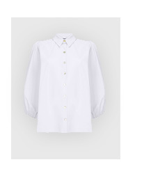 White Puff Sleeve Cotton Shirt