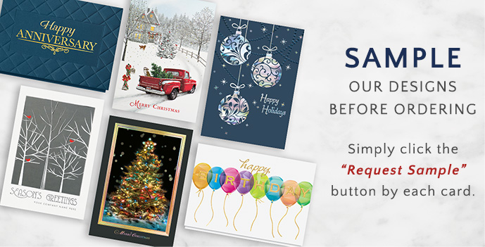Sample Our Designs Before Ordering - Click the ''Sample Request'' button by each card