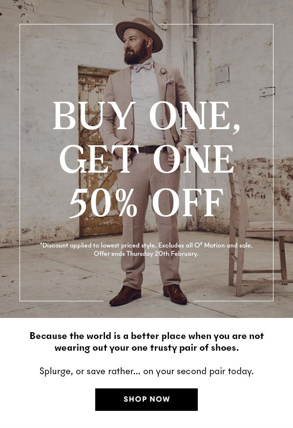 Buy one, get one 50% off!