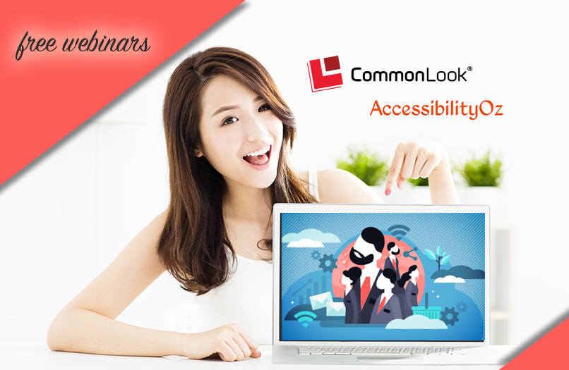 Smiling Asian woman points to a computer showcasing CommonLook webinars