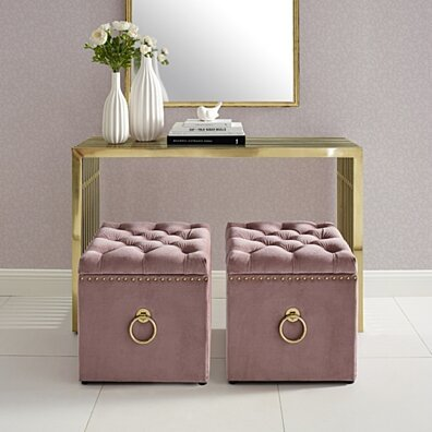 Claudia Velvet or Linen Ottoman - Storage | Knob Handle | Cube | Nailhead Trim by Inspired Home