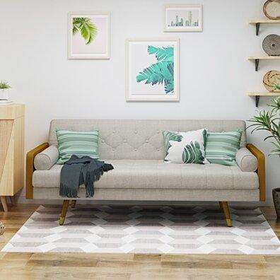 Aidan Mid Century Modern Tufted Fabric Sofa