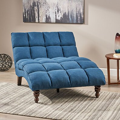 Tom Traditional Tufted Fabric Double Chaise