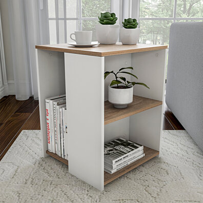 End Table Minimalist Two-Toned Cube Accent Side Table with Open Shelves