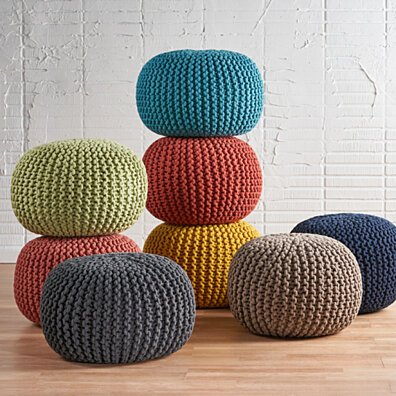 Poona Hand Knitted Artisan Pouf Ottomans