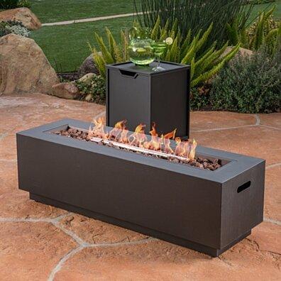 Jasmine Outdoor Dark Gray Finish Iron Rectangular Fire Pit - 50,000 BTU