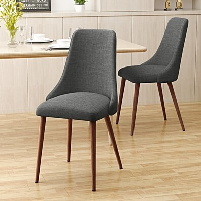 Soloman Mid Century Fabric Dining Chairs with Wood Finished Legs - Set of 2
