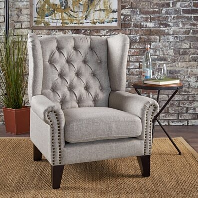 Lainie Traditional Tufted Winged Fabric Accent Chair