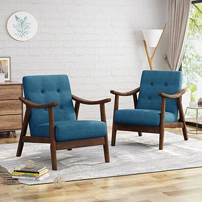 Aurora Mid-Century Modern Accent Chairs (Set of 2)