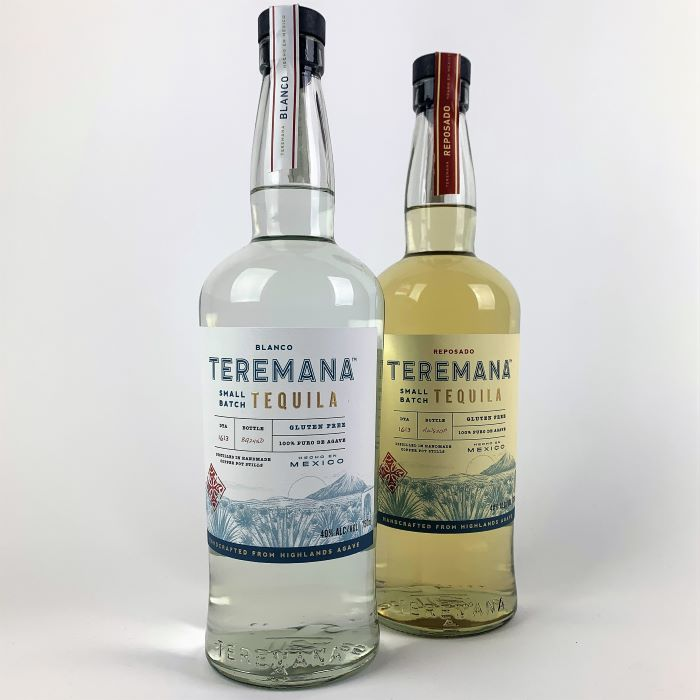 photo of 2 bottles of Teremen tequila. Blanco and Reposado