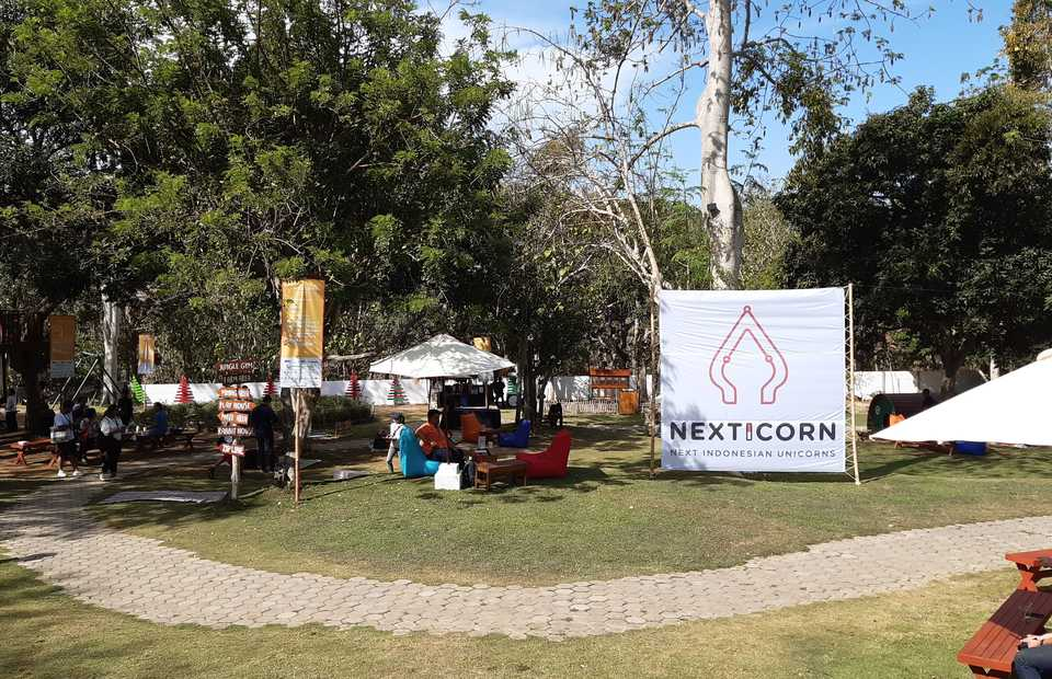 NextICorn International Summit 2019 in Jimbaran, Bali, features an outdoor venue for matchmaking between startups and investors. (JG Photo/Diana Mariska)