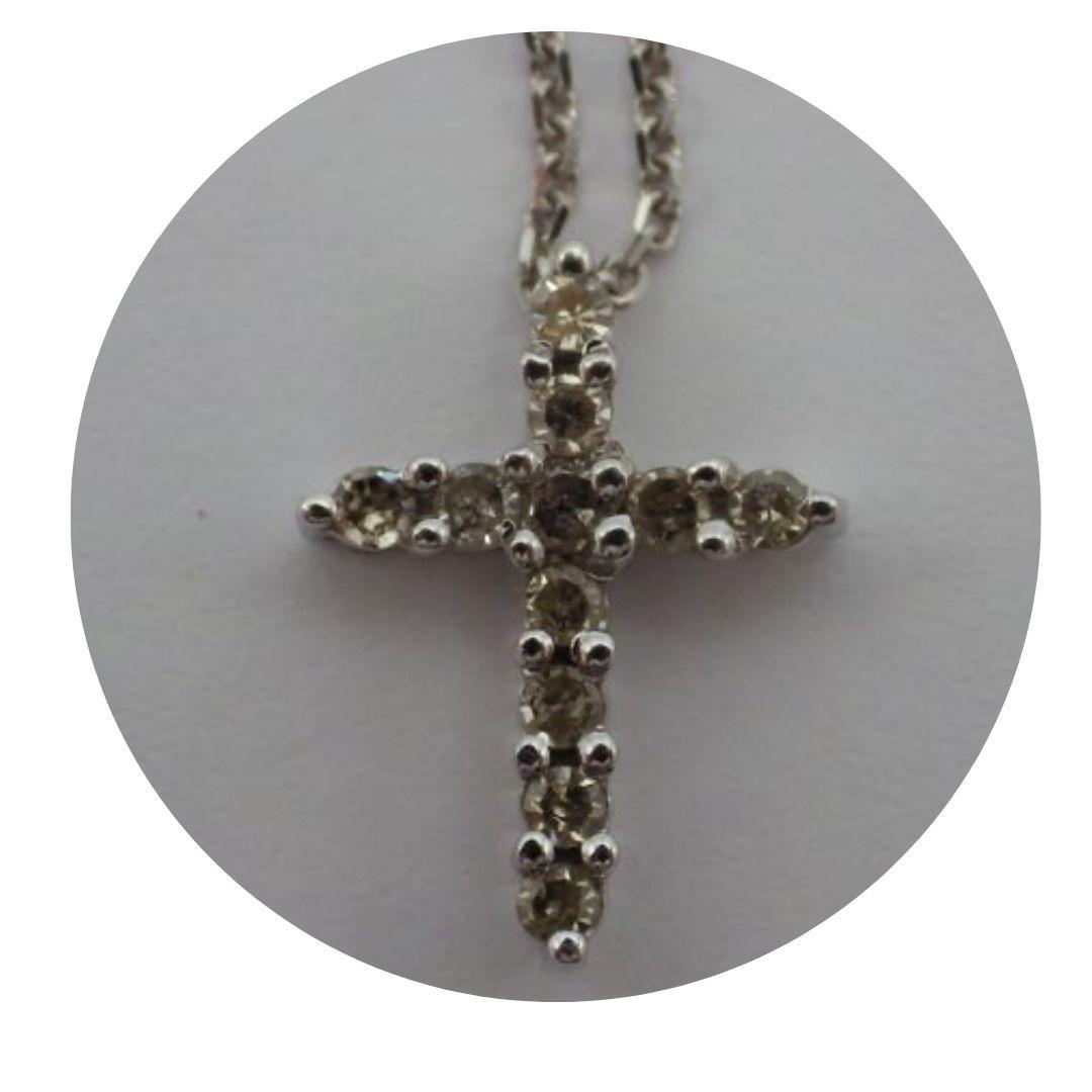 "16"" 14k Gold 11 Diamond (.165ctw) Cross Necklace"