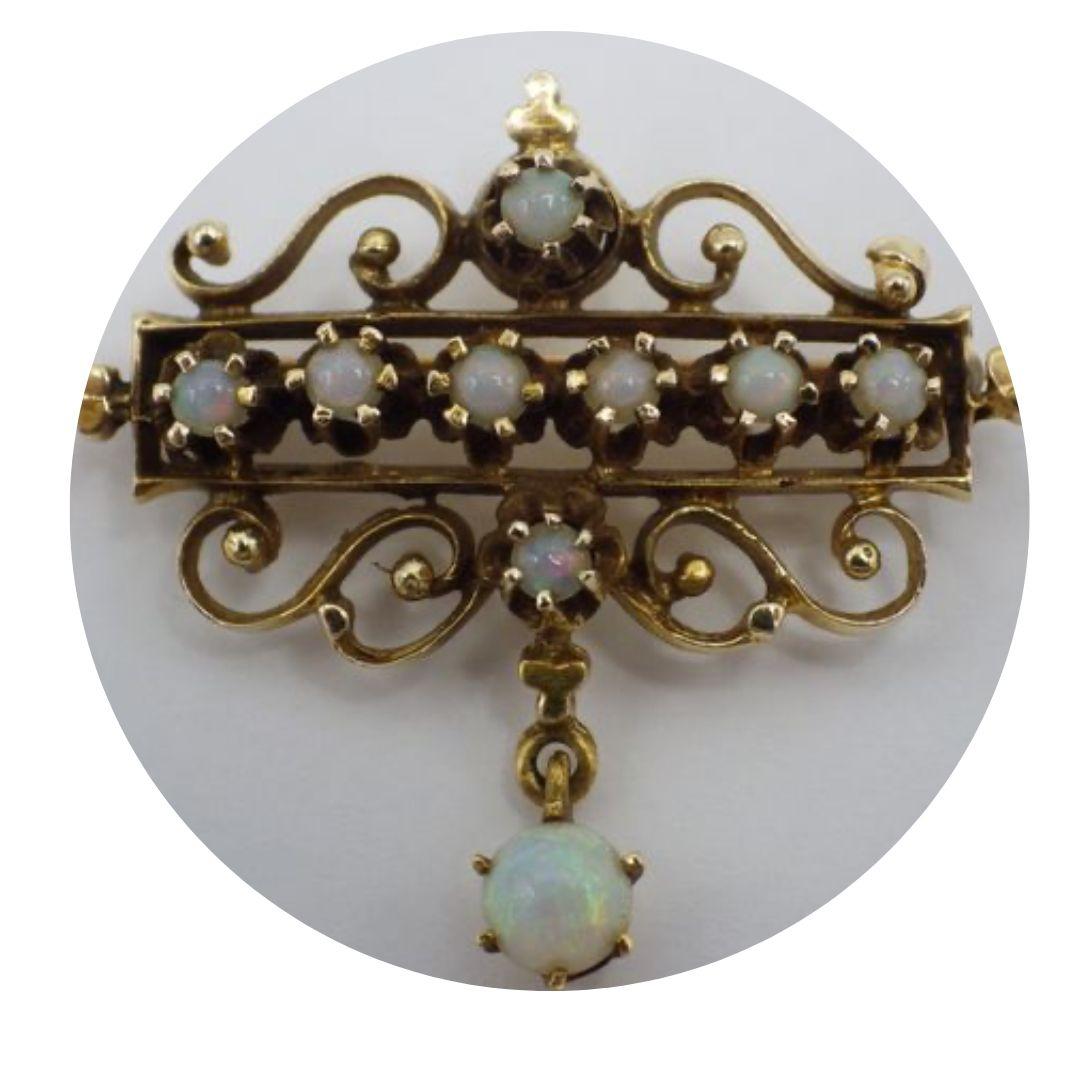 Vintage Estate 14k Gold Opal Brooch Pin 6.2 Grams