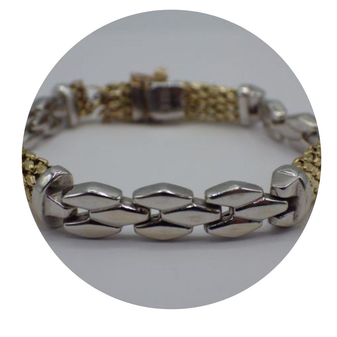 Italy 14k White Yellow Gold Broken Bracelet 18.7g