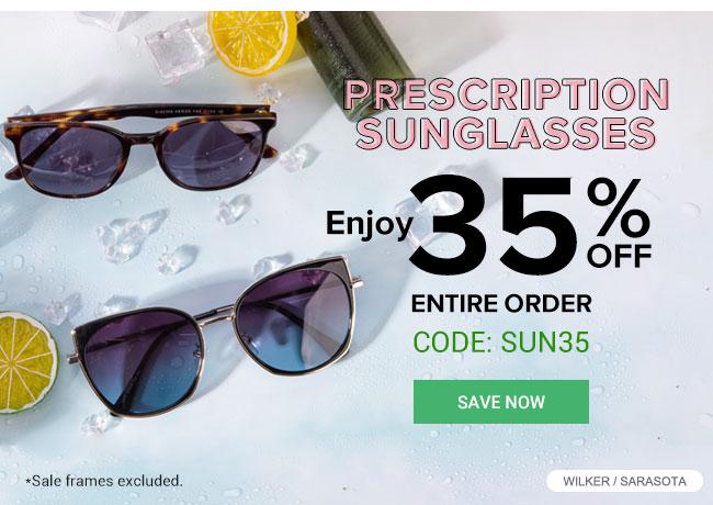 Prescription sunglassesEnjoy 35% off entire orderCode: Sun35Save now