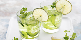 Cucumber water in glasses - image