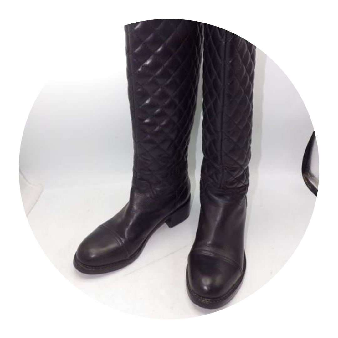 Chanel Black Quilted Boots