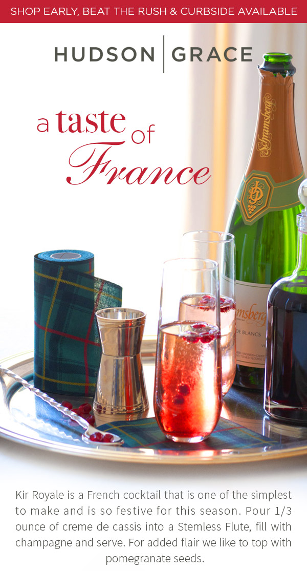 Kir Royale is a French cocktail that is one of the simplest to make and is so festive for this season. Pour 1/3 ounce of creme de cassis into a Stemless Flute, fill with champagne and serve. For added flair we like to top with pomegranate seeds.