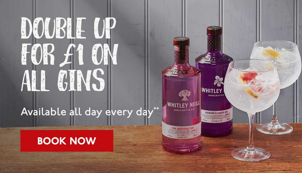 Double up for £1 on all Gins