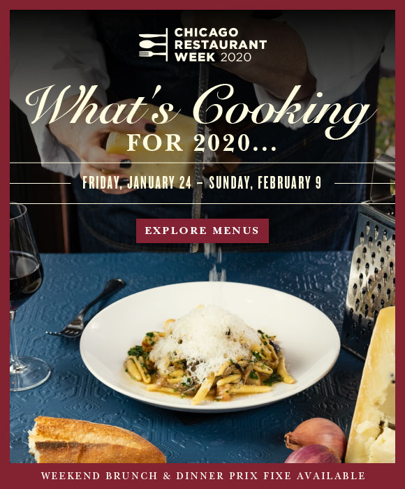 Click here to explore menus and book reservations for Chicago Restaurant Week, beginning tomorrow.