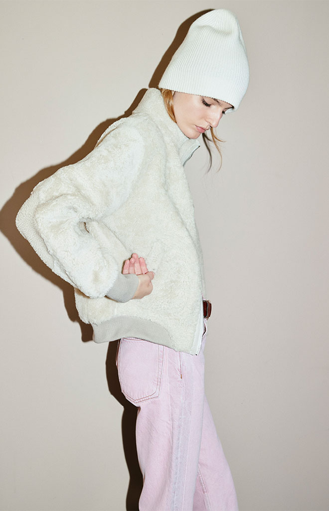 The Jodi Shearling Jacket in Ivory.