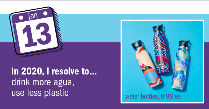 In 2020, I resolve to… drink more agua, use less plastic