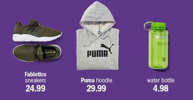Fabletics sneakers 24.99 | puma hoodie 29.99 | water bottle 4.98