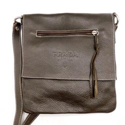 Prada Brown Leather Flap Crossbody Bag