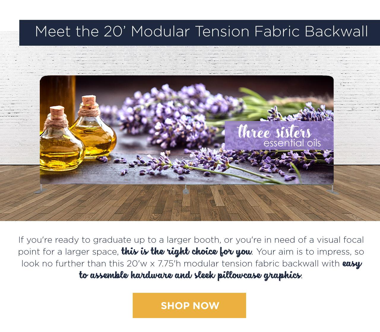 Meet the 20' Modular Tension Fabric Backwall - SHOP NOW