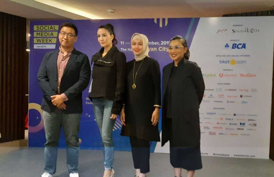 From left, SMW chairman Anthony Liem, UN Environment Ambassador Nadya Hutagalung, BCA senior vice president Norisa Saifuddin and Senayan City marketing and leasing general manager Jaclyn Halim at the SMW Jakarta press conference on Monday. (JG Photo/Jayanty Nada Shofa)