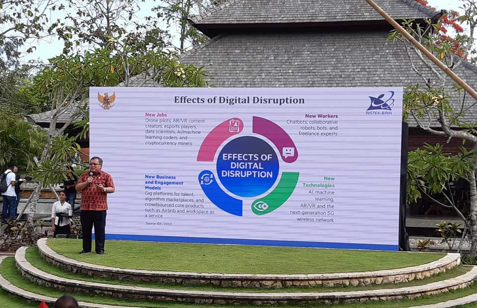 Research and Technology Minister Bambang Brodjonegoro speaks during the NextICorn International Summit 2019 in Jimbaran, Bali on Friday. (JG Photo/Diana Mariska)