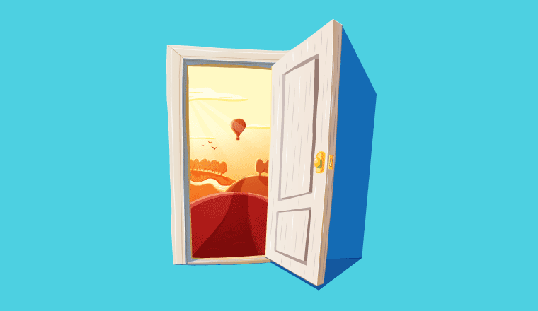 A picture of a beautiful view through a door