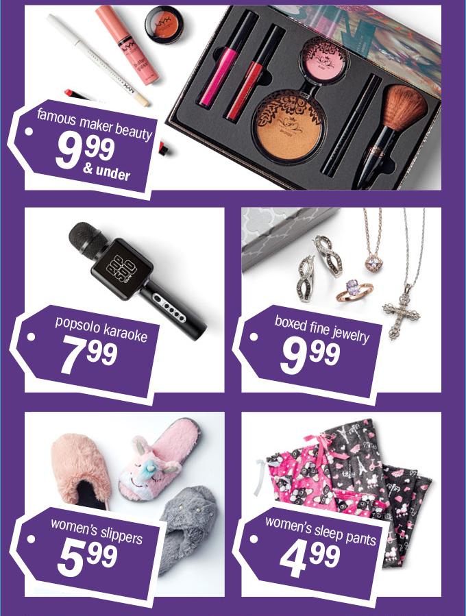 famous maker beauty 999 & under | popsolo karaoke 799 | boxed fine jewelry | women's slippers 599 | women's sleep pants 499