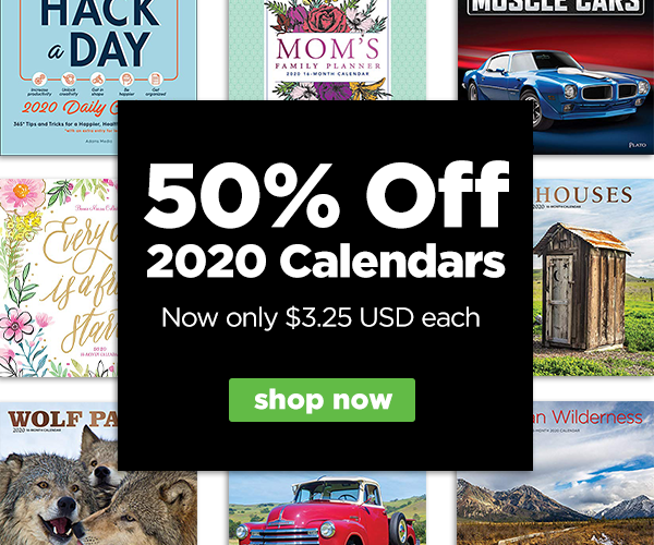 Save 50% off 2020 Calendars