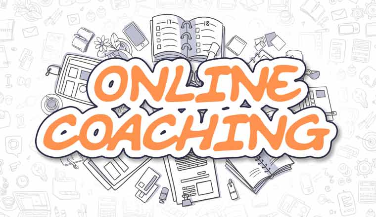 A picture of the words online coaching and doodles
