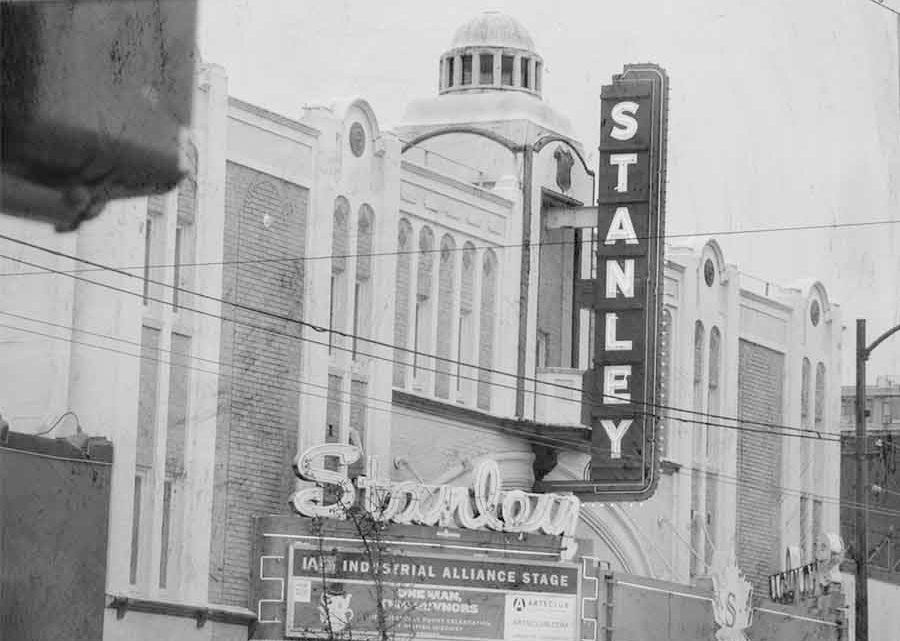 A photo of the Stanley Theatre exterior, in black and white.