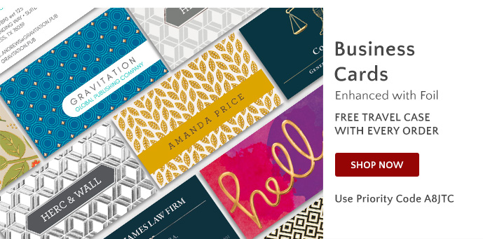 Business Cards - Free Travel Case with order - Use Priority Code A8JTC