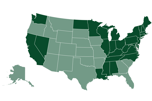 Map of state coverage